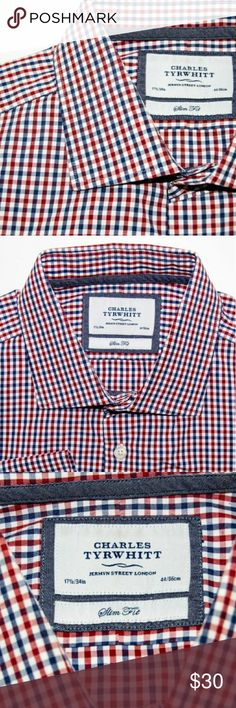 CHARLES TYRWHITT SLIM FIT BUTTON UP SHIRT CHARLES TYRWHITT SLIM FIT BUTTON UP SHIRT RED BLUE Charles Tyrwhitt Shirts Dress Shirts
