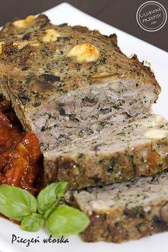 Pieczeń włoska z mięsa mielonego z czerwonym winem, pieczarkami, szpinakiem i parmezanem Czech Recipes, Veg Recipes, Greek Recipes, Cooking Recipes, Healthy Recipes, Meat Sandwich, Pork Dishes, Meatloaf Recipes, Special Recipes