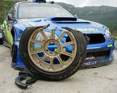 Subaru Rally car tire oops