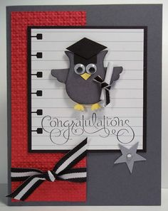 Graduation Owl Card Kit with Stampin Up Products Owl Punch Cards, Owl Card, Marianne Design, Congratulations Card, Graduation Cards, Kids Cards, Baby Cards, Card Kit, Cute Cards