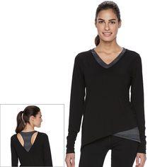 Women's Tek Gear® Racerback Long Sleeve Tee, Size: Large, Black