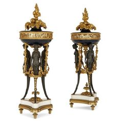 Pair of gilt and patinated bronze cassolettes by Dasson | By Dasson, Henry (French, 1825-1896) | French | Late 19th Century. More details online at mayfairgallery.com Bronze Highlights, Mantel Clocks, Metal Bowl, Potpourri, French Antiques, 19th Century, Marble, Antique Vases, Pairs