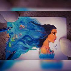 Moana Disney Princess The ocean choose me Desenho Drawing  Insta: icarodn27