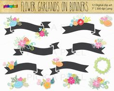 Banners Wreaths Flowers Digital Clip Art  Personal by pickApixel, $6.00