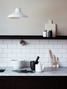 black white and marble kitchen