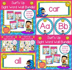 This bundle features all 300 of Fry's sight words! 196 pages of surfing themed word wall posters to brighten your classroom!  My Surf's Up Sight Word Wall Bundle includes: All 300 Fry sight words Surfer themed word wall letter headers