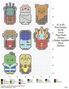 Mini Cross Stitch, Beaded Cross Stitch, Modern Cross Stitch, Cross Stitch Embroidery, Cross Stitch Patterns, Plastic Canvas Crafts, Plastic Canvas Patterns, Star Wars Pc, Geek Crafts