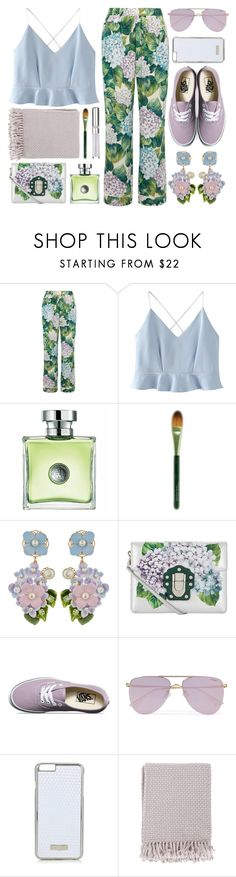 """Summer Picnic: Pastel Florals"" by the-amj ❤ liked on Polyvore featuring Dolce&Gabbana, WithChic, Origins, Vans, Le Specs, Topshop, Surya and Chantecaille"