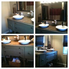 Our master bathroom with repurposed buffet