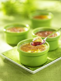 Crème brulee with an Ontario twist - local rhubarb gives this dessert a tart bite. Creme Brulee, Ontario, Tart, Panna Cotta, Food Ideas, Fruit, Ethnic Recipes, Desserts, Inspiration