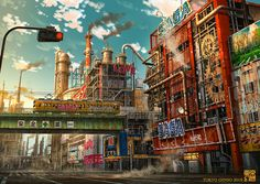 Artwork of architecturally interesting buildings and structures. Earth Two, Anime City, Image Painting, Interesting Buildings, Paint Background, Cg Art, Fantasy Landscape, Concept Art, Tokyo