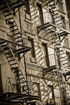 Old Fire Escapes Outside a Building in New York City