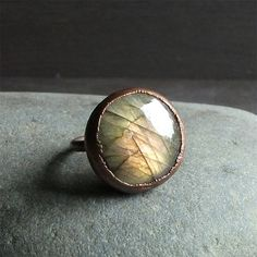 Labradorite Crystal Ring Gemstone Renaissance Ring Cocktail Ring Rough Stone Ring Size 8 Handmade For Her Artisan