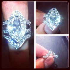 A very rare Marquee cut engagement ring with wedding band custom designed and hand made by Metal Noir
