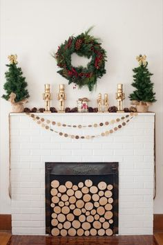 This wood fireplace arrangement is classic for the holidays.