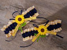 Navy sunflower garter Wedding Garter SET beautiful navy