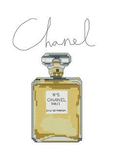 0 point de croix bouteille parfum chanel - cross stitch chanel bottle of perfume