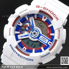 Casio G-Shock White Tricolor Analog Digital Limited Watch GA-110TR-7A, GA110TR