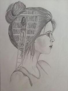 Pin on Kresba Girl Drawing Sketches, Girly Drawings, Art Drawings Sketches Simple, Pencil Art Drawings, Cool Drawings, Creative Pencil Drawings, Drawing Eyes, Amazing Drawings, Art Du Croquis