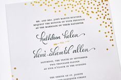 Navy + Gold Foil Calligraphy Wedding Invitations by Plurabelle and Kate Allen via Oh So Beautiful Paper Kate Spade inspired Wedding Invitation Wording, Invitation Design, Gold Invitations, Invitation Suite, Typography Invitation, Invitation Ideas, Invite, Wedding Calligraphy, Wedding Stationery