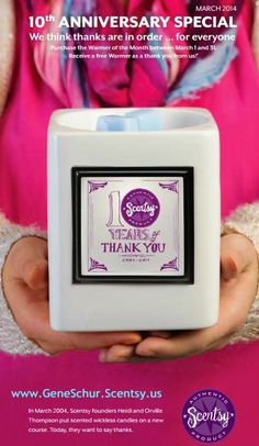 Purchase the #Scentsy Warmer of the Month from March 1 to March 31 and receive a FREE warmer as a thank you!  Happy 10 years Scentsy!     www.gonewickless.net