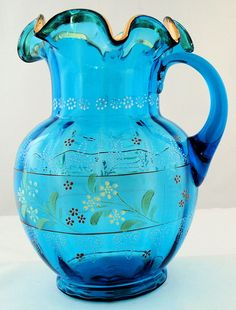 Hand-painted Antique Victorian glass water pitcher.