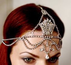 Art Deco Headpiece Vintage Rhinestone Headdress  by RoseoftheMire, totally doing this for my wedding!