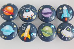 Drawer Knobs for Children- Handpainted- Space Theme- Set of 8