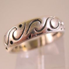 $17.99 Sterling Silver Wave Band Ring Size 7 Signed NF Unisex Vintage Jewelry Jewellery by BrightEyesTreasures on Etsy