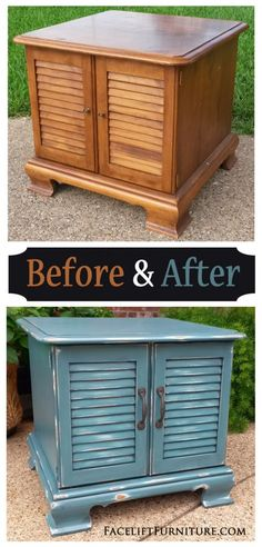 Rustic Sea Blue Maple End Table - Before & After, from the Facelift Furniture DIY Blog