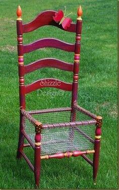 Repurposed ladderback chair into Planter