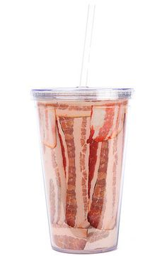 All-Over Bacon 16oz Plastic Cup With Straw