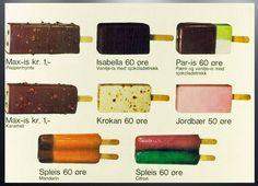 Et utvalg iskrem vi kunne velge i på 70-tallet.