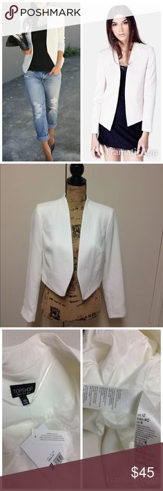 TopShop White Open Front Blazer TopShop White Open Front Blazer Sz8.Never worn any little flaws would be from storing/trying on thanks for looking. Topshop Jackets & Coats Blazers