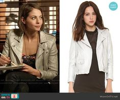 Thea's silver moto jacket on Arrow.  Outfit Details: http://wornontv.net/53821/ #Arrow