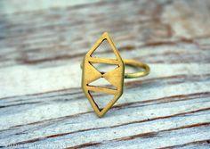 Geometric Brass Ring - Raw Brass, Geometric, Modern, Simple Ring. $40.00, via Etsy.