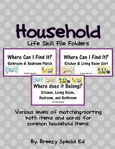 FREE Household Items Life Skill File Folders (Special Education)