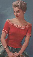 Vintage Knitting Pattern 1950s off-Shoulder Sweater/Jumper/Top
