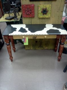 Hand Painted Furniture, Wooden Table, Hall Table, Buffet Table, Rustic, Western Style, Cabin or Lodge Decor, Black & White, Cow Print Table. $199.00, via Etsy.