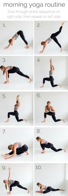 10 morning yoga poses pin --- www.nourishmovelove.com