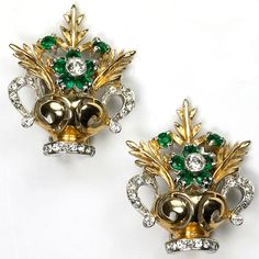 Reja 'Gardenesque' Gold and Emerald Flowers in a Vase Clip Earrings