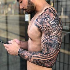 Incredibly detailed japanese sleeve otziapp com japanese inspiration inkstinct Phoenix Tattoo Sleeve, Samurai Tattoo Sleeve, Phoenix Tattoo Men, Dragon Sleeve Tattoos, Japanese Sleeve Tattoos, Best Sleeve Tattoos, Tattoo Sleeve Designs, Tattoo Designs Men, Asian Tattoo Sleeve