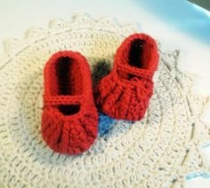 Red baby booties - mary jane style