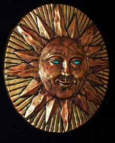 Sun Moon Wall Plaque Eclipse Sculpture Garden Home Patio Decor Pottery Folk Art