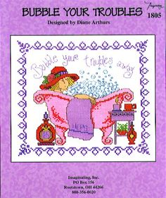 Imaginating Bubble Your Troubles - Cross Stitch Pattern. A lady in a red hat bubbles her troubles away in a pretty pink bathtub! A Diane Arthurs design shown st