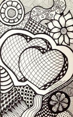 Zentangle of hearts