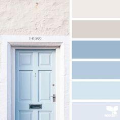 Door Tones A Door Tones via Love the light, soft and warm feeling in this color palette!A Door Tones via Love the light, soft and warm feeling in this color palette! Ocean Color Palette, Ocean Colors, Blue Colour Palette, Blue Color Schemes, Pastel Colors, Colour Palettes, Coastal Color Palettes, Exterior Color Palette, Blue Color Combinations