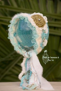 Newborn Crochet Bonnet Ivory and Aqua Blue by PutABonnetOnIt