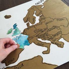 Europa mapa Scratch por KristinDouglasART en Etsy