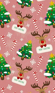 Merry Christmas,  Reindeer, Christmas trees wallpaper